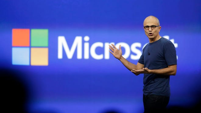 Microsoft CEO Satya Nadella gestures during the keynote address of the Build Conference in San Francisco in April.