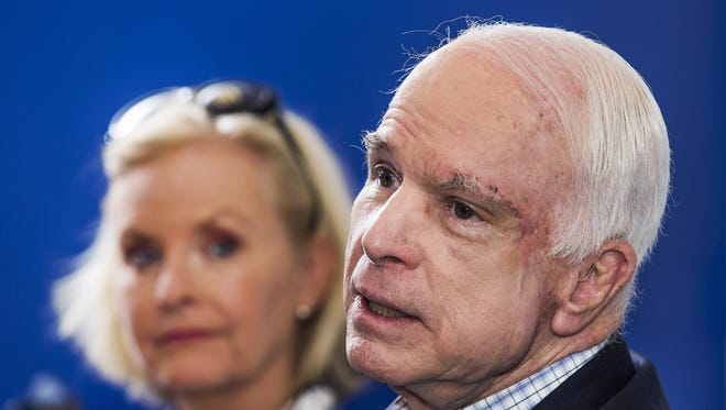 Sen. John McCain with wife Cindy in Phoenix on August 3, 2017.