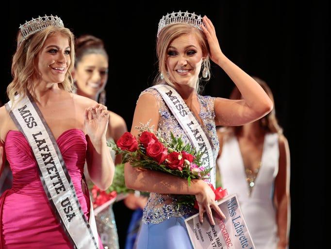 Miss competition winner Josie Stephens fixes her crown
