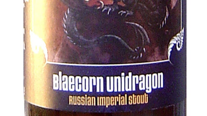 Blaecorn Unidragon, brewed under the Clown Shoes brand of Mercury Brewing Co., in Ipswich, Mass., is 12.5% ABV.