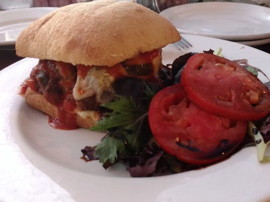 The Meatball Marinara Panini, features four big meatballs,