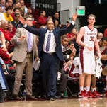 Stanford Cardinal head coach Johnny Dawkins reacts in the game against the USC Trojans in the second half at Maples Pavilion.