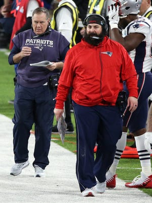 Matt Patricia (right) and Bill Belichick during the third quarter of the Patriots' 41-33 loss to the Eagles in Super Bowl LII at U.S. Bank Stadium on Sunday.