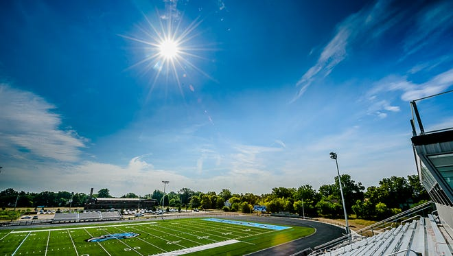 View of the new Lansing Catholic football field from the stands.