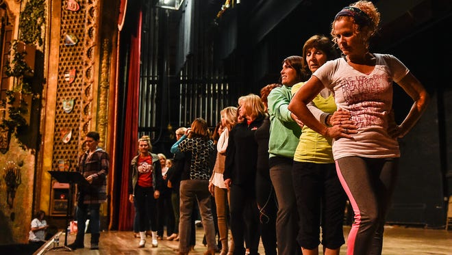 The women's tap line for Christmas at the Palace rehearses a dance routine at the Marion Palace Theatre. Christmas at the Palace is scheduled for Dec. 2-4. Ticket information is available at www.marionpalace.org.