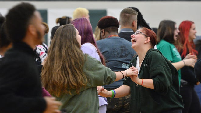 Students dance to B-Tropical during a York County School of Technology assembly celebrating Diversity Week, Thursday, May 4, 2017. The assembly included testimonials from students about their experiences as immigrants, attempting suicide, and race issues.  John A. Pavoncello photo