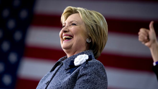 Democratic presidential candidate Hillary Clinton smiles as she is introduced on stage  during a campaign event at the Grady Cole Center in Charlotte, N.C., on March 14.