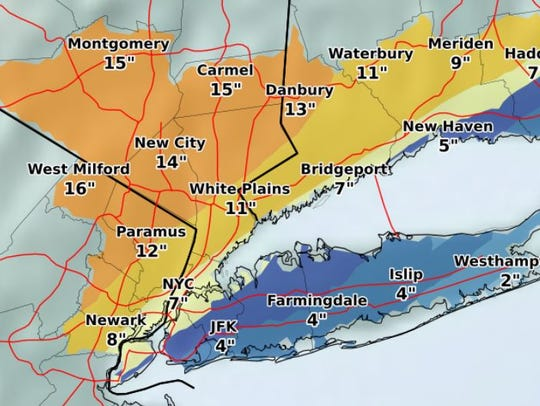 Expected snowfall for Wednesday, March 7, 2018, as