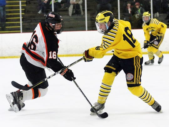 Hartland's Brenden Tulpa (18) had a goal and an assist in a 4-2 victory over Brighton on Monday, Feb. 12, 2018.