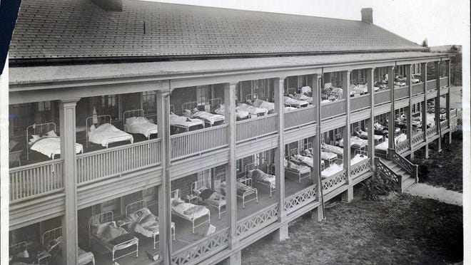The women's sleeping porches at Zambarano Memorial Hospital in Burrillville at 6 a.m. on Oct. 31, 1908. Before the advent of antibiotics, rest, a hearty diet, sunlight and fresh air were the accepted treatment for tuberculosis.
