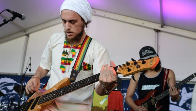 Nashville-based reggae rockers Roots of a Rebellion perform in the New Music on Tap Lounge during the Bonnaroo Music & Arts Festival on June 9, 2016, in Manchester, Tenn.