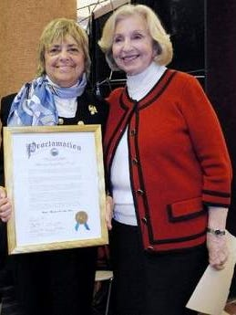 Monmouth County Library Commission Chair Renee B. Swartz (left) and Monmouth County Clerk Claire French at Archives and History Day on October 11.