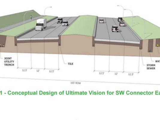 Conceptual design of Veterans Parkway near the Great Western Trail