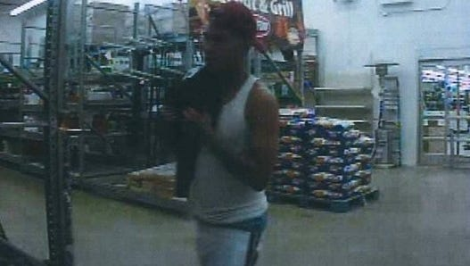 Man seen leaving Wal-Mart after starting a fire inside a tote Wednesday night.