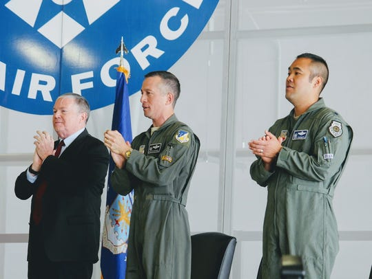 From left to right, MQ-1 Predator innovator James G.