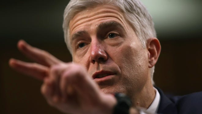 WASHINGTON, DC - MARCH 22:  Judge Neil Gorsuch testifies during the third day of his Supreme Court confirmation hearing before the Senate Judiciary Committee in the Hart Senate Office Building on Capitol Hill, March 22, 2017 in Washington. Gorsuch was nominated by President Donald Trump to fill the vacancy left on the court by the February 2016 death of Associate Justice Antonin Scalia.  (Photo by Justin Sullivan/Getty Images)