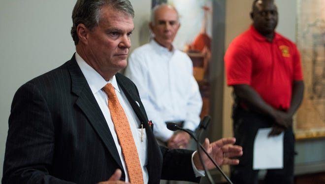 Montgomery County Commissioner Doug Singleton speaks as Montgomery County officials discuss their battle with a ransomware attack on the computer system at the Montgomery County Courthouse in Montgomery, Ala., on Tuesday September 19, 2017.