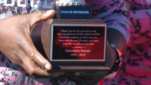 Saunders girls soccer head coach Carlo Mitrione was