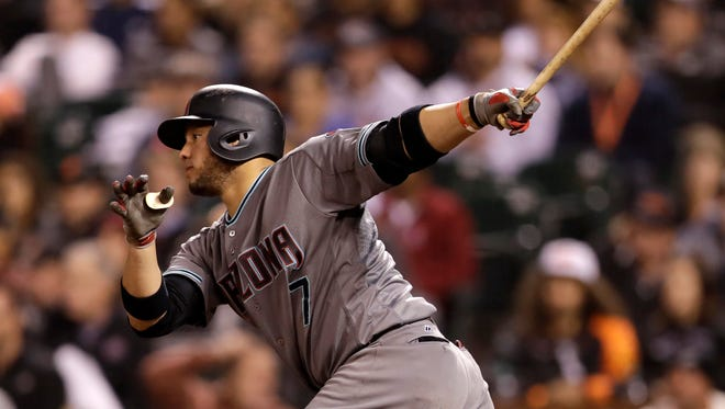 Arizona Diamondbacks' Welington Castillo watches his two-run single during the fifth inning of a baseball game against the San Francisco Giants on Tuesday, Aug. 30, 2016, in San Francisco.