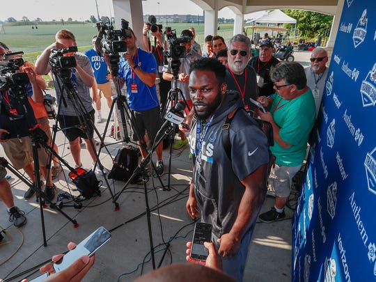 Indianapolis Colts running back Robert Turbin talks to reporters after he and his teammates reported to training camp at Grand Park in Westfield on Wednesday, July 25, 2018.