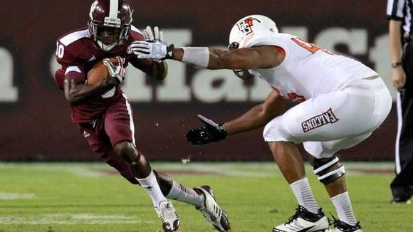 Mississippi State moved Brandon Holloway, who rushed for 67 yards Saturday, moved from receiver to running back this spring.