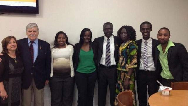 Pictured left to right: Dale Daniels, Romeo Dallaire, Eugenie Mukeshimana, Jacqueline Murekatete, Nathanial Nyok and his wife Yar, Yannick Tona and Desire Karangwa.
