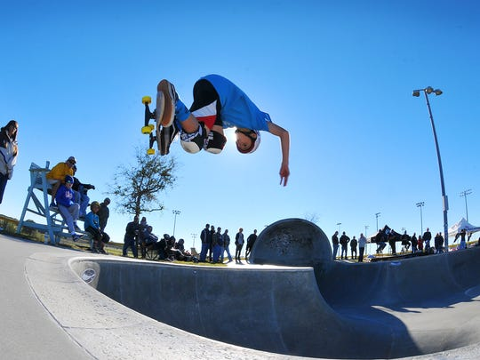 Jake Yanko, 13, competes at the Cocoa Beach Open skateboard contest in this January 2016 FLORIDA TODAY file photo.