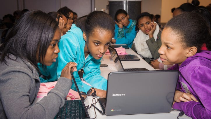 Girls from the national non-profit Black Girls Code get an introductory coding lesson at Google New York offices.
