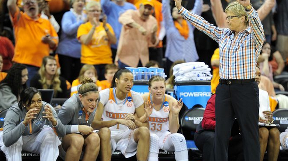 Holly Warlick celebrates Tennessee's win over Gonzaga.