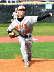 Northville's Chris Dunn fires a pitch toward the plate