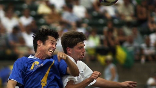 Former Rhinos star defender Scott Schweitzer, left, shown here in a 2002 picture wearing a Rochester Lancers replica jersey during a match, and Bill Sedgewick were the latest picks for the June 27 Rhinos Legends Game at Sahlen's Stadium.