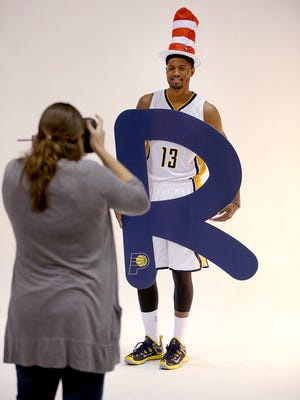 The Indiana Pacers held their media day Monday, September 29, 2014, morning at Bankers Life Fieldhouse. Here Pacers Paul George poses for Pacers photographer Jessica Hoffman.