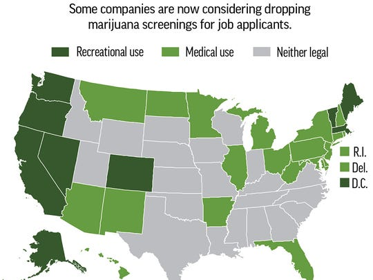 Map shows states where marijuana use is legal for recreational use and medical use.
