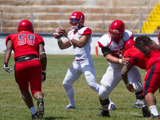 The Dixie State football team played its spring game at the SunBowl Saturday, April 15, 2017. After a record-setting year last year, the Trailblazers will look to improve on last year's great run as it begins its second season in theRocky Mountain Athletic Conference.