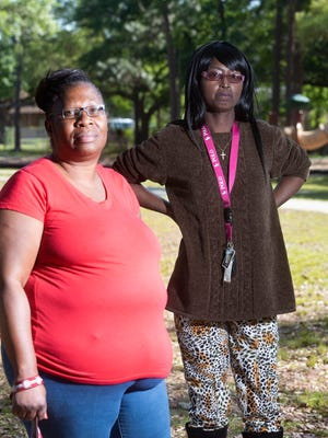 Montclair residents, Joyce Jackson, left, and Terra Hunter, are seeking answers, Thursday, April 5, 2018, to the poor treatment of party-goers by Escambia County Sheriff's Deputies following a block party at Bristol Park on Easter Sunday.