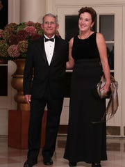 Director of the National Institute of Allergy & Infectious Diseases at the National Institute of Health Anthony Fauci and his wife Christine Grady arrive at the White House for an Obama Administration state dinner in 2016 for Italian Prime Minister Matteo Renzi and his wife Agnese Landini.