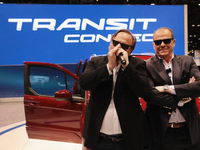 Actor Jim Belushi, left, and Mark LaNeve, Ford vice