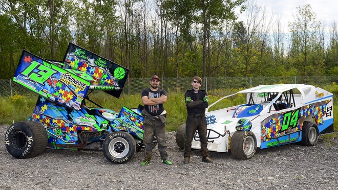 Trevor Years, left, and Eric Years are brothers to race in different classifications at Land of Legends Raceway in Canandaigua. Their goal is to win, but that goal is secondary to the effort to raise awareness for autism.