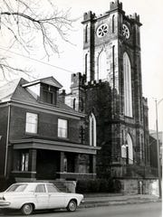 St. James Episcopal Church with the home housing the church's social room in 1966.