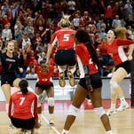 Louisville's Katie George (5), Molly Sauer (1) Erin Fairs (7), Maya McClendon (13), Tess Clark (17) and Janelle Jenkins celebrate after the Cards score against Pittsburgh.  Nov. 6, 2015