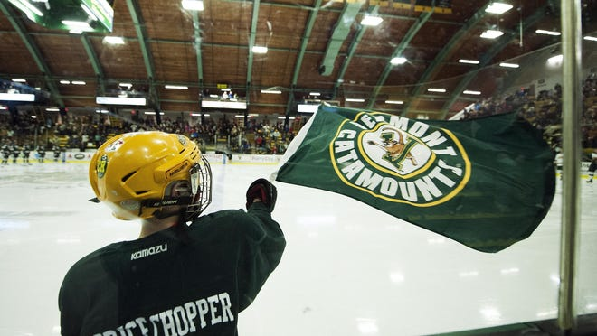 A kid waves the Vermont flag during the men's hockey game between the Providence Friars and the Vermont Catamounts at Gutterson Fieldhouse on Friday night in Burlington.