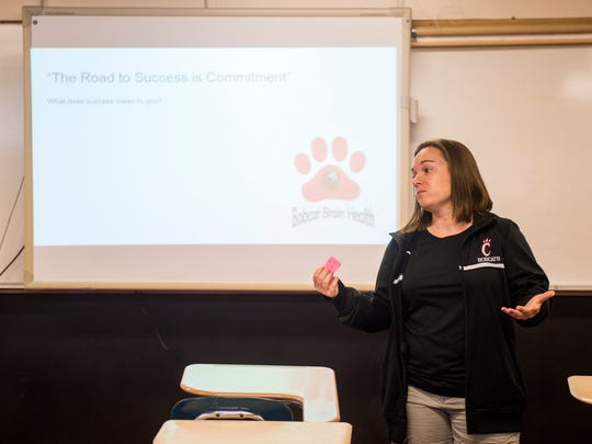 Central High teacher Rebecca Monhollen leads her class in a belated Mental Health Monday discussion on Wednesday,  Feb. 21.