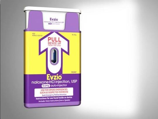 An EVIZIO auto-injector from kaléo, a Richmond, Virginia-based pharmaceutical company.