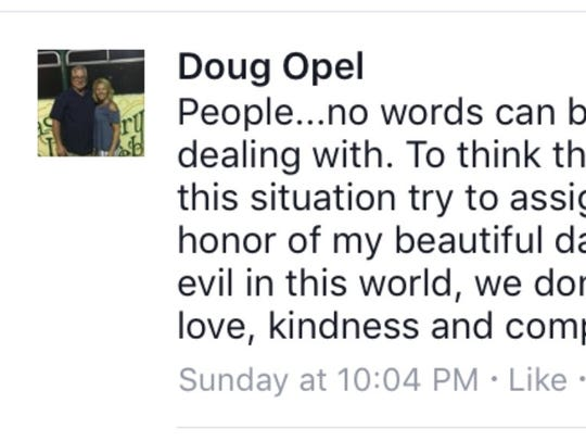 Doug Opel, the father of two sisters killed last week,