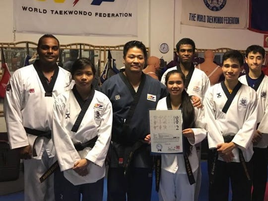 Tierra-Lynn L.G. Chargualaf and Anthony Jay L.G. Chargualaf passed their second Dan Taekwondo Promotion Test with the Guam Taekwondo Federation, Maite.  They received their official Kukiwon Certificate on April 2. Tierra has been training with GTF in preparation for the Korea Open and the 2019 Pacific Games.  Pictured from left:  Amber Toves, Master Mike Ho (GTF Secretary General), T. Chargualaf, Joseph Ho, Declan Dean. Back left: Coach Ron Cook, Alex Allen, Leon Ho, and Chiras Melsior. Not pictured: A.Chargualaf.