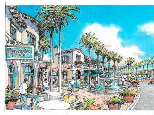 The Plaza at University Village will feature brick paver walkways, gathering areas with benches and tropical landscaping that surrounds coffee houses, restaurants and shops.