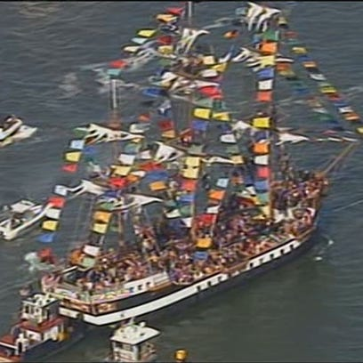 Aerial view of the Gasparilla Pirate Invasion!