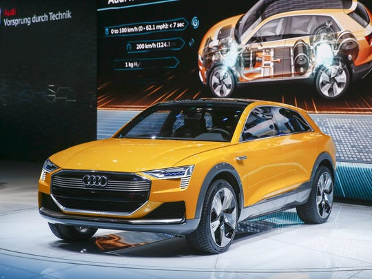 The Audi h-tron Quattro concept automobile is presented at the North American International Auto Show