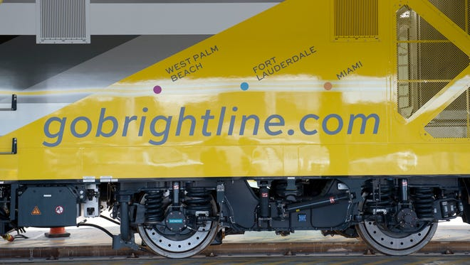 "All Abord Florida's Brightline ""BrightBlue"" train debuted Jan. 11, 2017, at Workshop b, Brightine's railroad operations facility in West Palm Beach. ""BrightBlue"" is the first of five trains that will eventually move passengers between Orlando and Miami."