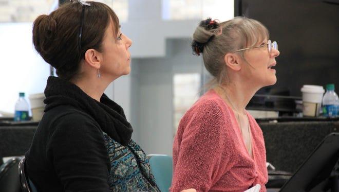"Mireille Favarel (left) and Danish dancer-choreographer Dinna Bjørn scrutinize a Milwaukee Ballet rehearsal. An expert on Bournonville ballet, Bjørn is teaching Milwaukee Ballet performers ""La Sylphide."""